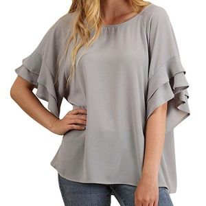 Umgee Grey Ruffle sleeve Top M Blouse C0887